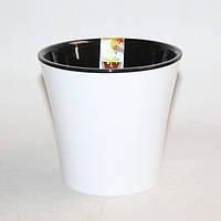 Горшок дренажный для растений Santino Arte Белый-черный 0.6 л