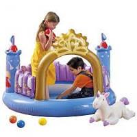 Игровой центр замок, с шариками 10шт, надувной единорог