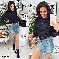 Женская рубашка с рюшами 1385 Ол Код:918614529