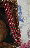 Намисто етнічне Вишиванка з Коралів та Бірюзи, колье 5 низок, натуральный камень, тм Satori \ Sk - 0117, фото 4