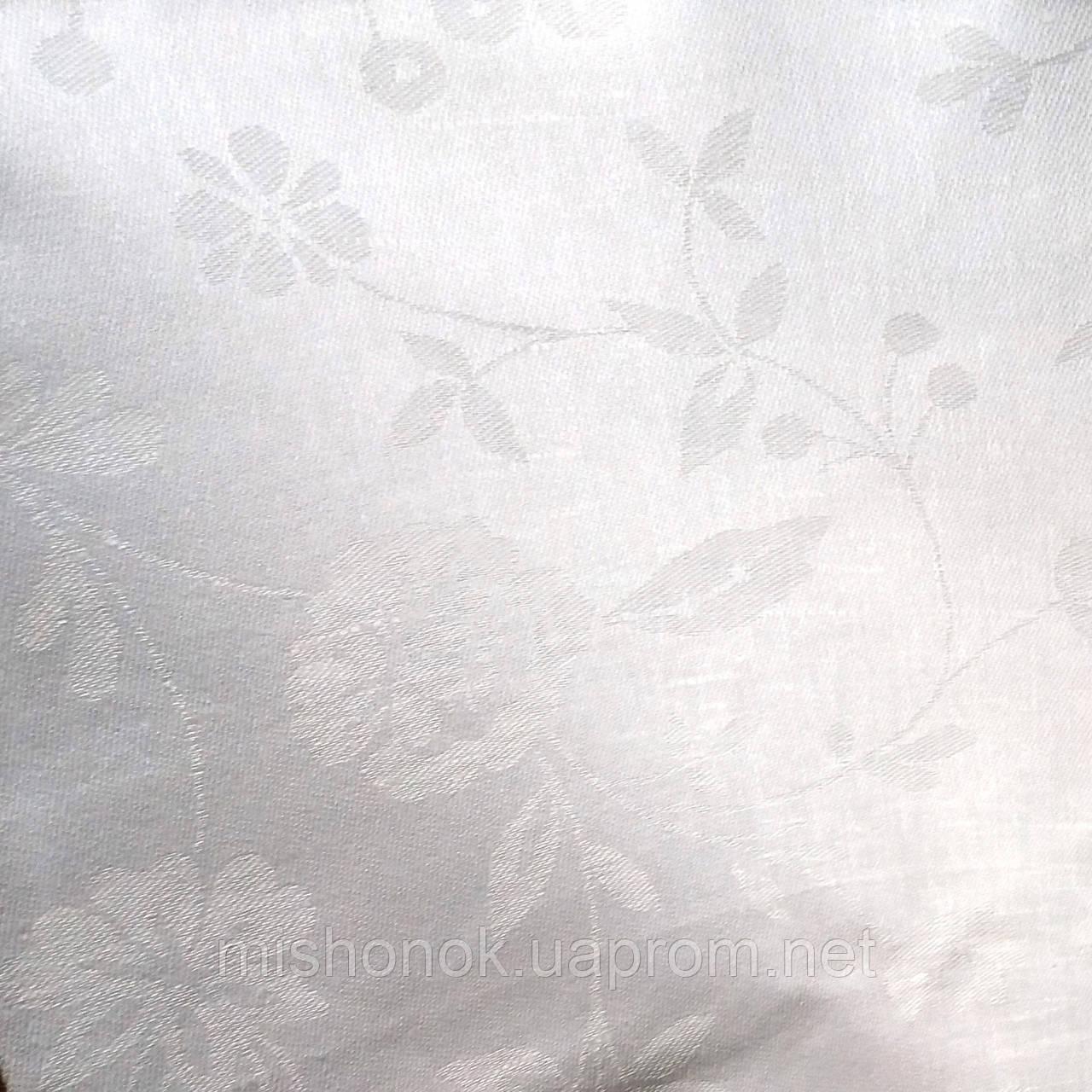 Ткань скатертная белая, лен, отрез 4м х 1,5м