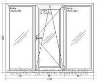 Окно металлопластиковое 1700*1350 мм