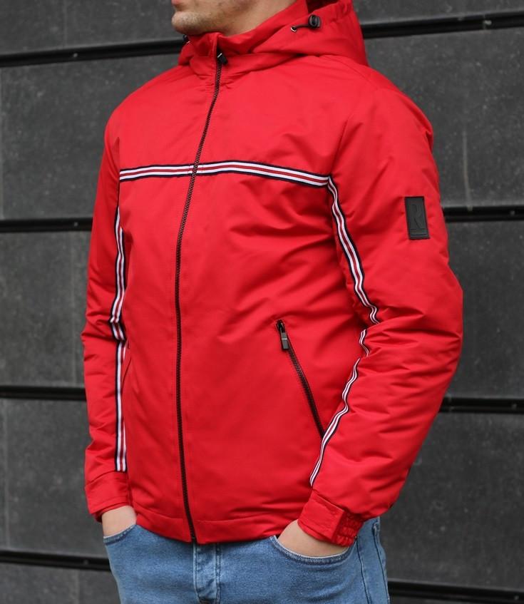 Мужская демисезонная куртка с капюшоном красная Т2 . Фото в живую