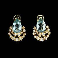 Серьги натуральный природный Голубой Топаз. Серебро 925, позолота 14 карат , фото 1