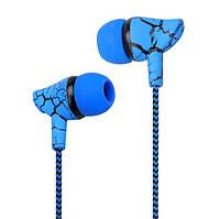 Проводные наушники вкладыши, трещины тканевые 3,5 мм Синий