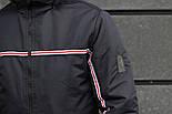 Мужская демисезонная куртка с капюшоном темно синяя Т2 . Фото в живую, фото 2