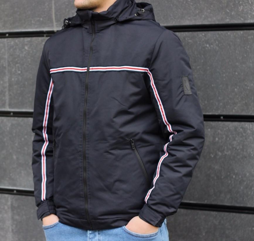 Мужская демисезонная куртка с капюшоном темно синяя Т2 . Фото в живую