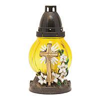 Лампадка стеклянная с крестом на подставке круглая