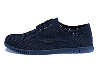 Мужские кожаные летние туфли, перфорация ZG  Man  Blue  , фото 1