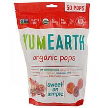 """Органические леденцы YumEarth """"Organic Pops"""" ассорти из 8 вкусов (50 леденцов, 349 г)"""