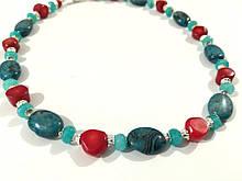 Колье короткое Апатит - Коралл - Аквамарин, натуральный камень, тм Satori  \ Sk - 0120