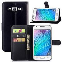 Чехол-книжка Litchie Wallet для Samsung J700 Galaxy J7 Черный