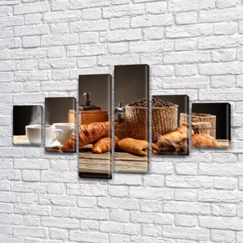 Модульная картина  Кофе и круасаны на ПВХ ткани, 80x135 см, (30x20-2/40х20-2/75x20-2)