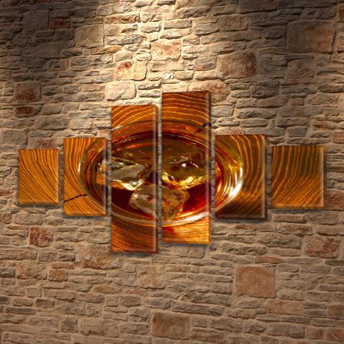 Модульная картина Виски со льдом на ПВХ ткани, 80x135 см, (30x20-2/40х20-2/75x20-2)