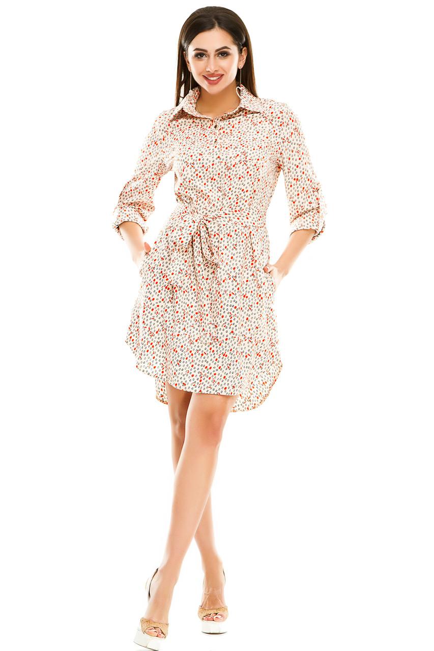 Платье- рубашка 5274 розовая