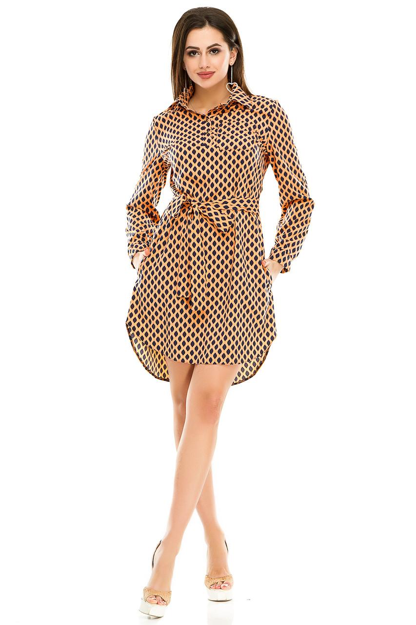 Платье- рубашка 5274 оранжевая