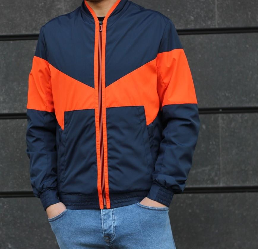 Мужская куртка весенняя ветровка NK синяя с оранжевым. Фото в живую