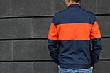 Мужская куртка весенняя ветровка NK синяя с оранжевым. Фото в живую, фото 2