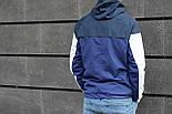 Мужская демисезонная куртка с капюшоном синяя . Фото в живую, фото 2