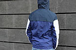 Мужская демисезонная куртка с капюшоном синяя . Фото в живую, фото 3
