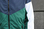 Мужская демисезонная куртка с капюшоном синяя с зеленым. Фото в живую, фото 3