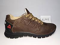 Мужские кожаные коричневые кроссовки Reebok с перфорацией в дырочку 40,41,42,43,44,45