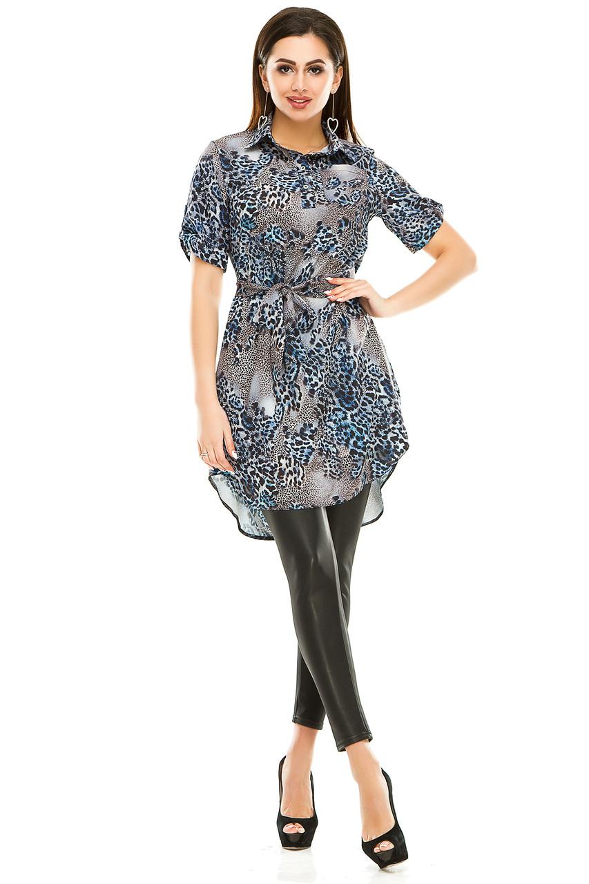 Платье- рубашка 285 синяя в принт