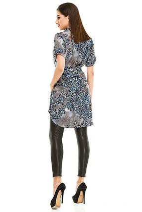 Платье- рубашка 285 синяя в принт, фото 2
