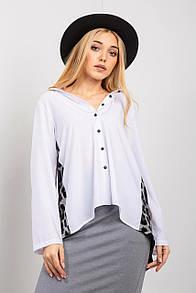Белая рубашка LUCIANA с удлиненной спинкой в леопардовый принт
