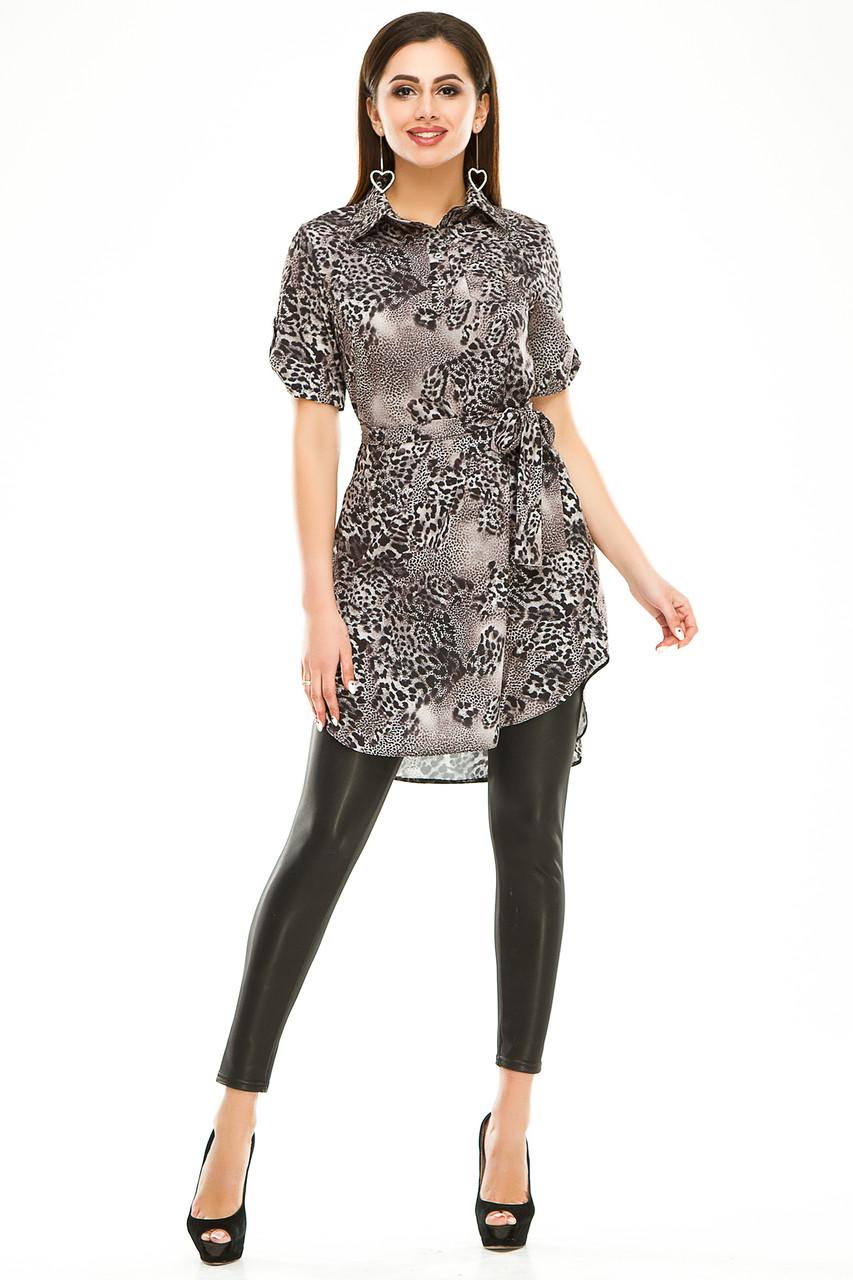 Платье- рубашка 285 серая в принт размер 44
