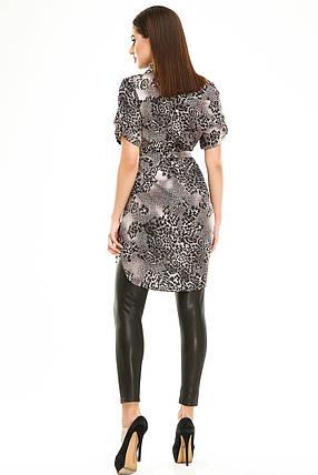 Платье- рубашка 285 серая в принт, фото 2