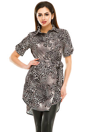 Платье- рубашка 285 серая в принт размер 44, фото 2