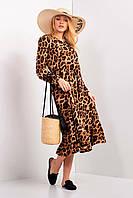Леопардовое платье URSULA с воланом и длинными рукавами