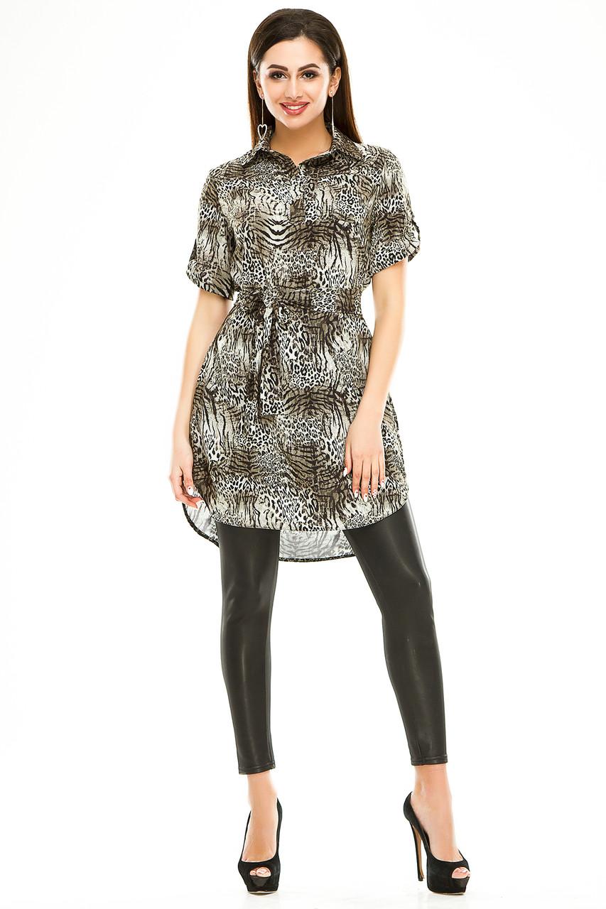 Платье- рубашка 285 оливка в принт