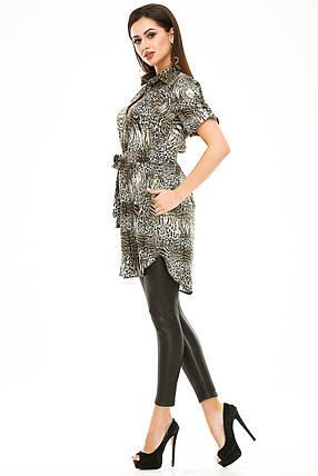 Платье- рубашка 285 оливка в принт, фото 2