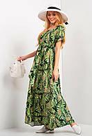 Платье макси ROMANA под пояс с короткими рукавами и растительным принтом