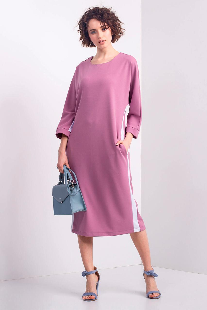 24a12f3dcce613b Розовое трикотажное платье CAROL B оверсайз с лампасами и боковыми  карманами - motus в Ивано-