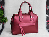 Женская красная кожаная сумка в виде саквояжа, фото 1