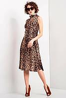 Леопардовое платье LEONA без рукавов с отложным воротником-стойкой