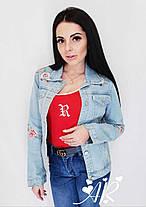 Модная и стильная джинсовка с цветами. Размер 42-44, 44-46, фото 3