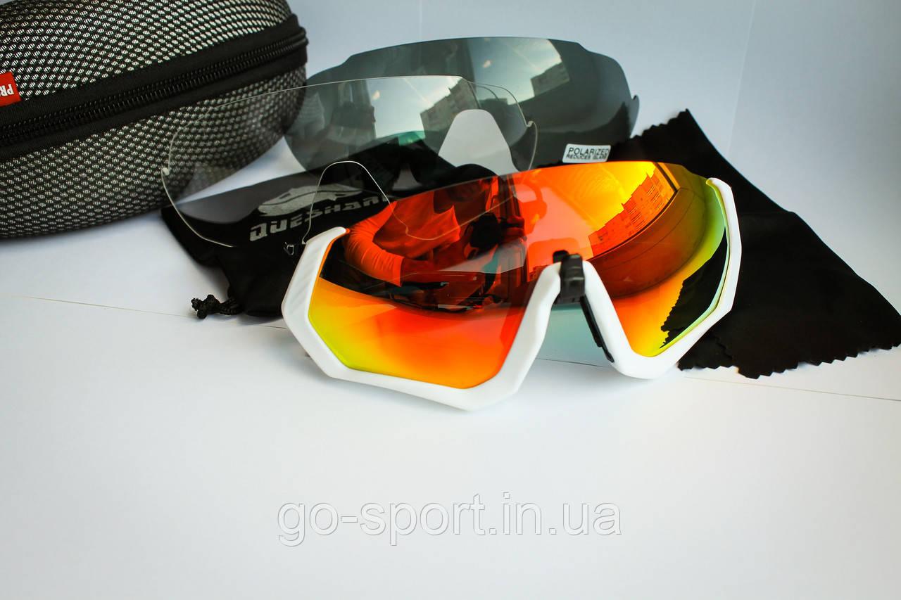 Велосипедные очки Que-shark White 2019 с поляризационным покрытием