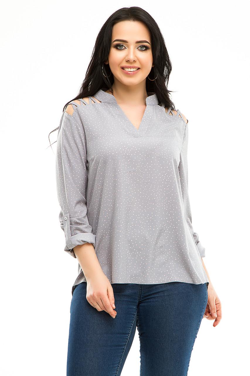 Блузка 5291 светло-серый горох