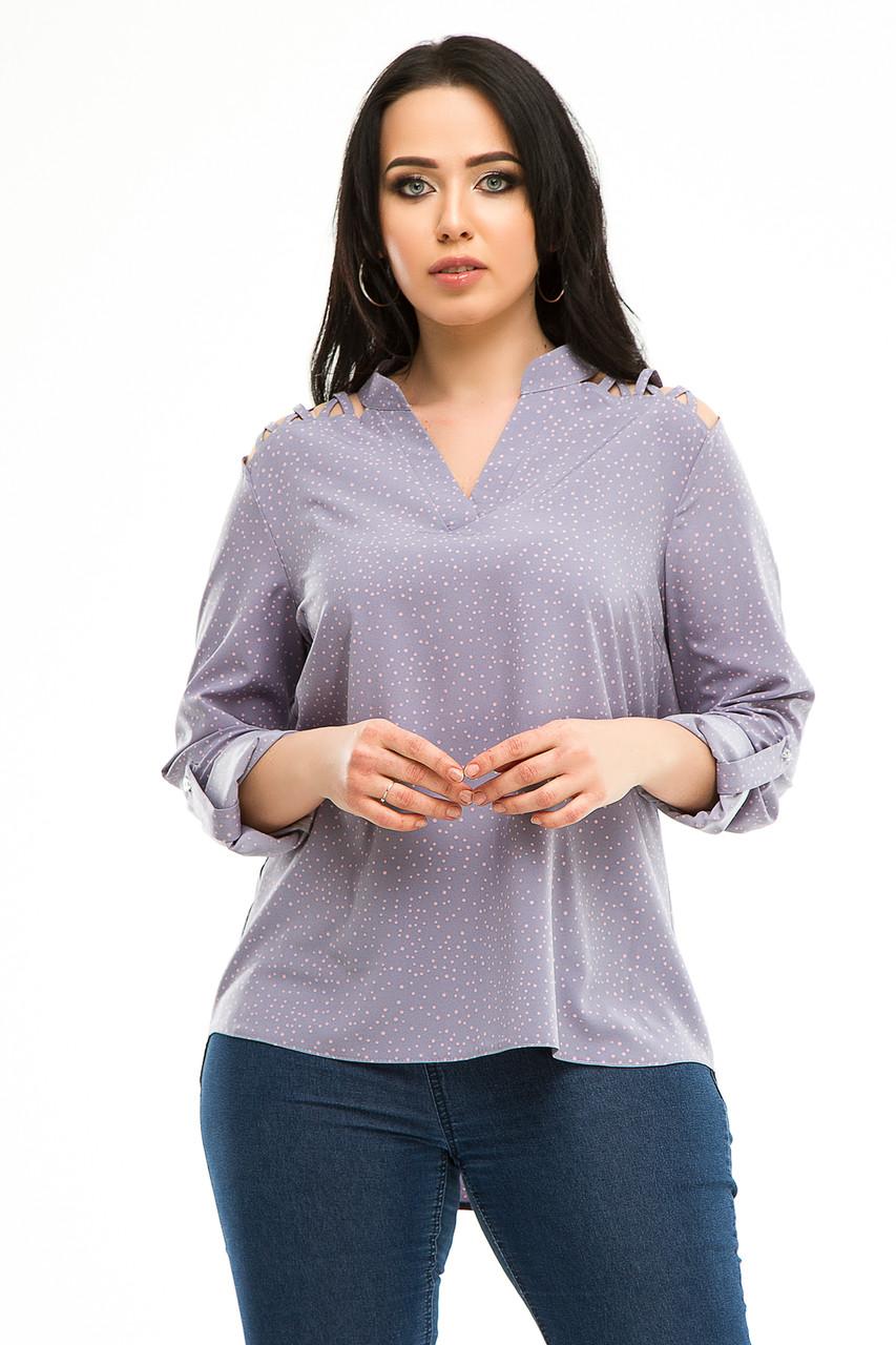 Блузка 5291 темно-сірий горох
