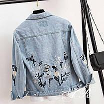 Стильная джинсовая куртка с цветочным принтом. Размер 42-44, 44-46, фото 3