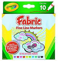 Маркеры рисование по ткани Fine Line Fabric, 10 цветов, Crayola