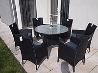 Комплект меблів круглий стіл з кріслами із ротангу, фото 1