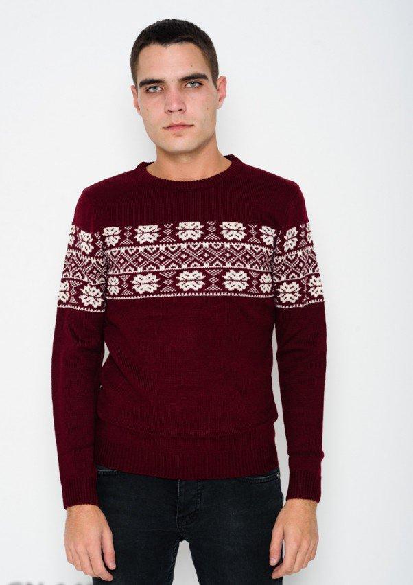 бордовый шерстяной вязаный свитер с этническим узором Ms в