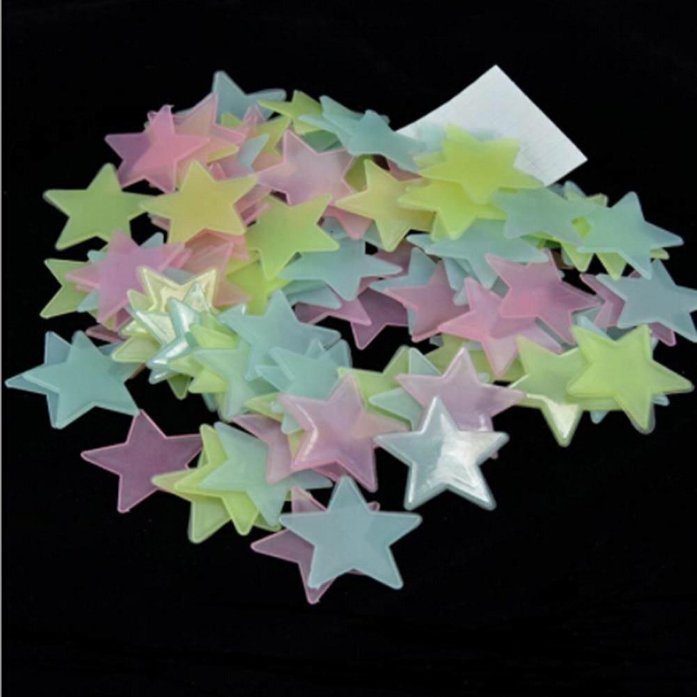 Стикеры звездочки, светящиеся в темноте РАЗНОЦВЕТНЫЕ (100 шт)
