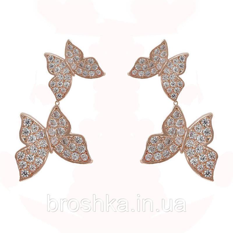 Позолоченные серьги бабочки бижутерия