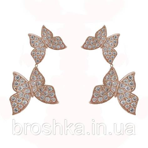 Позолоченные серьги бабочки бижутерия, фото 2